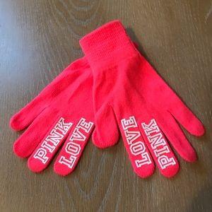 PINK Victoria's Secret neon gloves